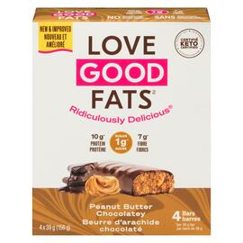 Love Good Fats Beurre d'Arachide Chocolaté 4 Barres Collations x 39 g (156 g)