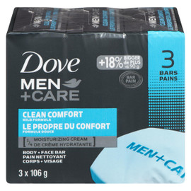 Dove Men+Care Pain Nettoyant Corps + Visage le Propre du Confort 3 Pains x 106 g