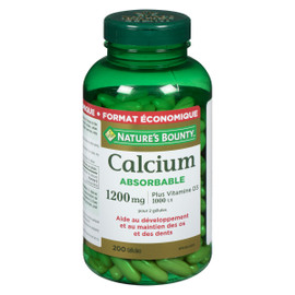 Nature's Bounty Calcium Absorbable 1200 mg Plus Vitamine D₃ 1000 UI par Dose Paquet Économique 200 Gélules