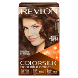 Revlon ColorSilk Beautiful Color 3D Color Gel Technology Permanent + No Ammonia 46 Châtain Doré Moyen