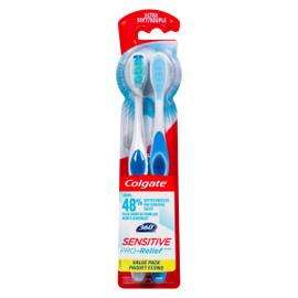 Colgate 360° Sensitive Pro-Relief Souple Paquet Écono 2 Brosses à Dents