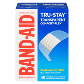 Band-Aid Tru-Stay Pansements Adhésifs de Marque Transparent Comfort-Flex 45 Pansements Assortis