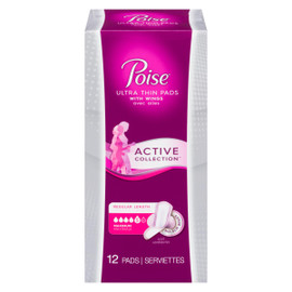 Poise Ultra Thin Pads Active Collection Longeur Ordinaire Maximale Avec Ailes 12 SERVIETTES