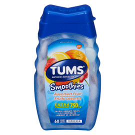 Tums Smoothies Antacide Fruits Assortis Extra Fort 750 mg 60 Comprimés de Carbonate de Calcium USP