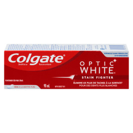 Colgate Optic White Dentifrice au Fluorure Anticarie Stain Fighter Pâte à la Menthe Pure 90 ml