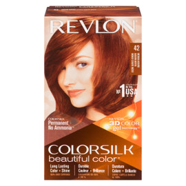 Revlon ColorSilk Beautiful Color 3D Color Gel Technology Permanent + No Ammonia 42 Auburn Moyen