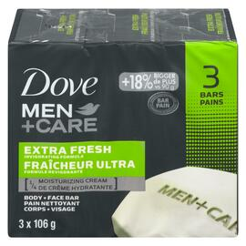 Dove Men+Care Pain Nettoyant Corps + Visage Fraîcheur Ultra 3 Pains x 106 g