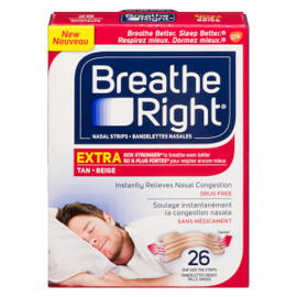 Breathe Right 26 Bandelettes Nasales Beiges Taille UNIQUE
