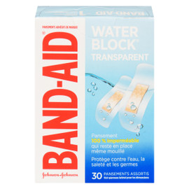 Band-Aid Water Block Pansements Adhésifs de Marque Transparent 30 Pansements Assortis
