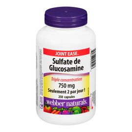 Webber Naturals Joint Ease Sulfate de Glucosamine Triple Concentration 750 mg 250 Capsules