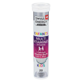 Swiss Energy Multivitamines Enfants + Calcium + Biotine A, B, C, D3, E 20 Comprimés Effervescents