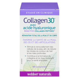 Webber Naturals Collagen30 avec Acide Hyaluronique Bioactive Collagen Peptides 180 Comprimés