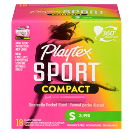 Playtex Sport Compact Super 18 Tampons avec Applicateur en Plastique