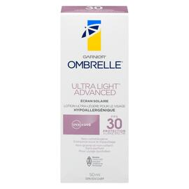 Garnier Ombrelle Ultra Light Advanced Écran Solaire FPS 30 Protection à Large Spectre 50 ml