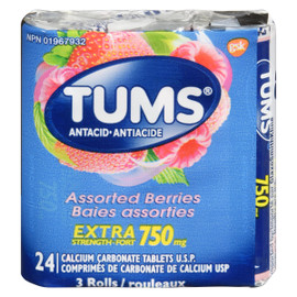 Tums Antiacide Baies Assorties Extra Fort 750 mg 3 Rouleaux 24 Comprimés de Carbonate de Calcium USP