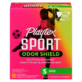 Playtex Sport Odor Shield Super 16 Tampons avec Applicateur en Plastique
