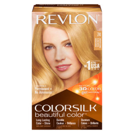 Revlon ColorSilk Beautiful Color 3D Color Gel Technology Permanent + No Ammonia 74 Blond Moyen