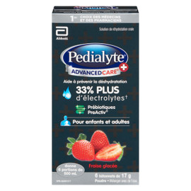 Pedialyte Advanced Care + Solution de Réhydratation Orale Poudre Fraise Glacée 6 Bâtonnets x 17 g