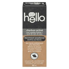 Hello Dentifrice Sans Fluorure Charbon Activé Blanchiment Sensationnel 82 ml