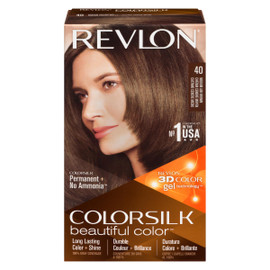 Revlon ColorSilk Beautiful Color 3D Color Gel Technology Permanent + No Ammonia 40 Châtain Cendré Moyen