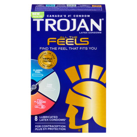 Trojan Toutes Les Sensations Condoms Latex 8 Condoms en Latex Lubrifiés