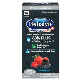 Pedialyte Advanced Care + Solution de Réhydratation Orale Poudre Baies Givrées 6 Bâtonnets x 17 g