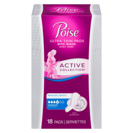 Poise Ultra Thin Pads Active Collection Longeur Ordinaire Moyenne avec Ailes 18 Serviettes