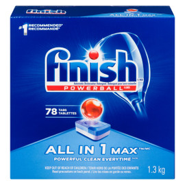 Finish Powerball All in 1 Max Détergent pour Lave-Vaisselle 78 Tablettes 1.3 kg