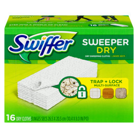 Swiffer Sweeper Dry Linges Secs 16 Recharges Non Parfumées