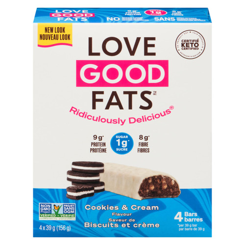 Love Good Fats Saveur de Biscuits et Crème 4 Barres Collations x 39 g (156 g)