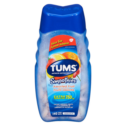 Tums Smoothies Antiacide Fruits Assortis Extra Fort 750 mg 140 Unités