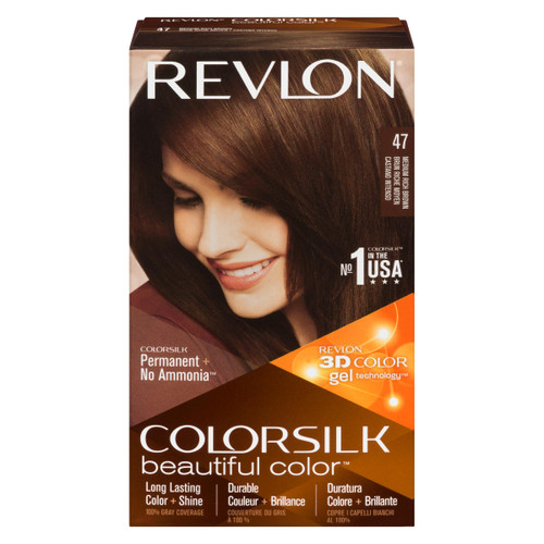 Revlon ColorSilk Beautiful Color 3D Color Gel Technology Permanent + No Ammonia 47 Brun Riche Moyen