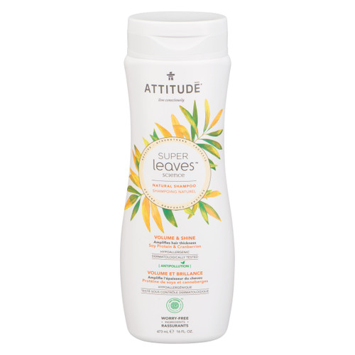 Attitude Super Leaves Shampoing Naturel Volume et Brillance Protéine de Soya et Canneberges 473 ml