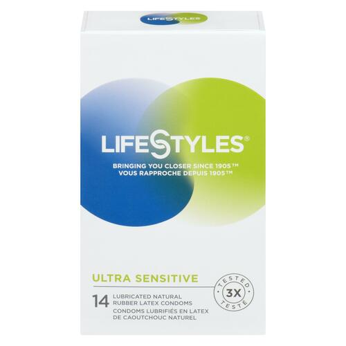 LifeStyles Ultra Sensibles 14 Condoms Lubrifiés en Latex