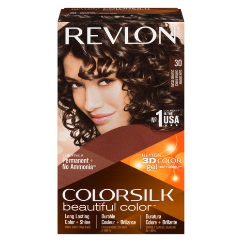 Revlon ColorSilk Beautiful Color 3D Color Gel Technology Permanent + No Ammonia 30 Châtain Foncé
