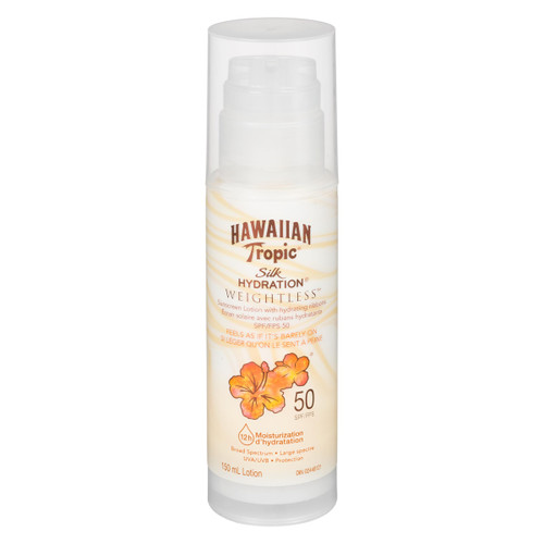 Hawaiian Tropic Silk Hydration Weightless Lotion Écran Solaire avec Rubans Hydratants FPS 50 150 ml