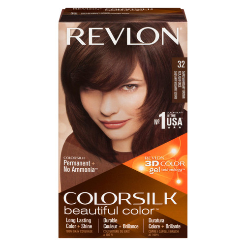 Revlon ColorSilk Beautiful Color 3D Color Gel Technology Permanent + No Ammonia 32 Acajou Foncé