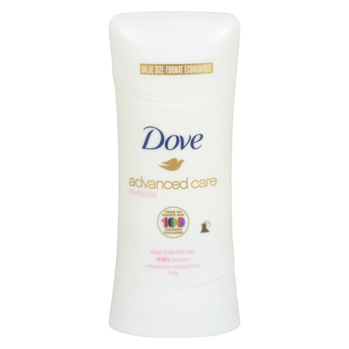 Dove Advanced Care Antisudorifique Invisible Fini Clair Format Économique 74 g