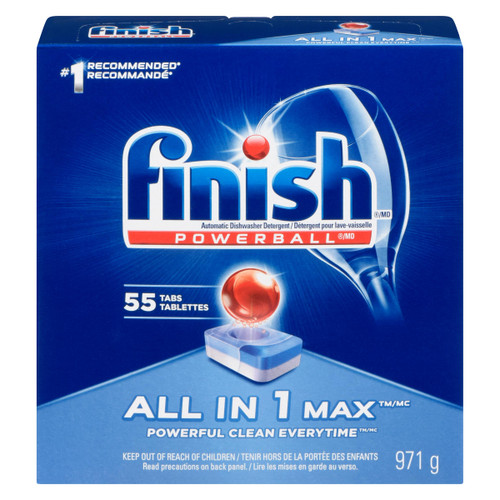 Finish Powerball All in 1 Max Détergent pour Lave-Vaisselle 55 Tablettes 971 g