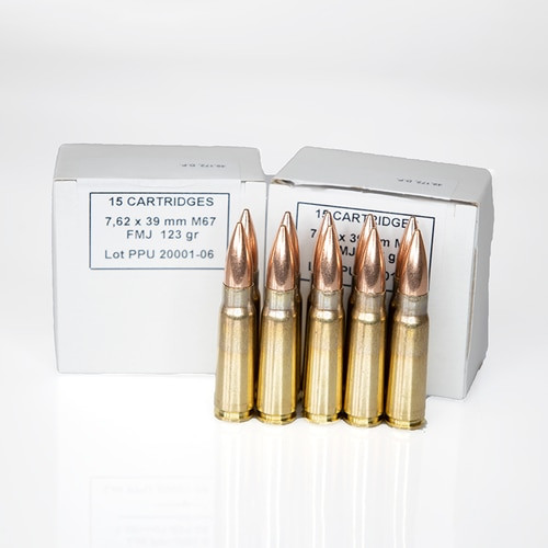 PPU 7.62x39 123gr FMJ Ammo - 15 Rounds