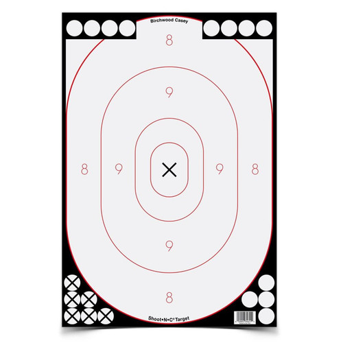 SHOOT•N•C® 12 X 18 INCH WHITE / BLACK SILHOUETTE, 5 TARGETS - 90 PASTERS