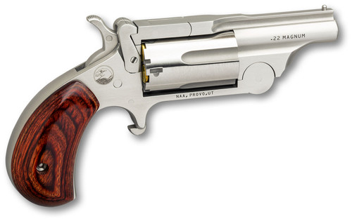 "NORTH AMERICAN ARMS  NAA 22MCBTII Ranger II 22 LR/22 Mag Single 1.63"" 5 Rosewood Bird's Head Grip Stainless Steel Frame"