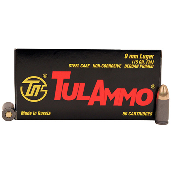 Tulammo 9mm 115gr FMJ Steel Case (50 Rounds)