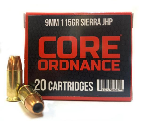CORE Ordnance 115gr JHP 9mm- 20rds