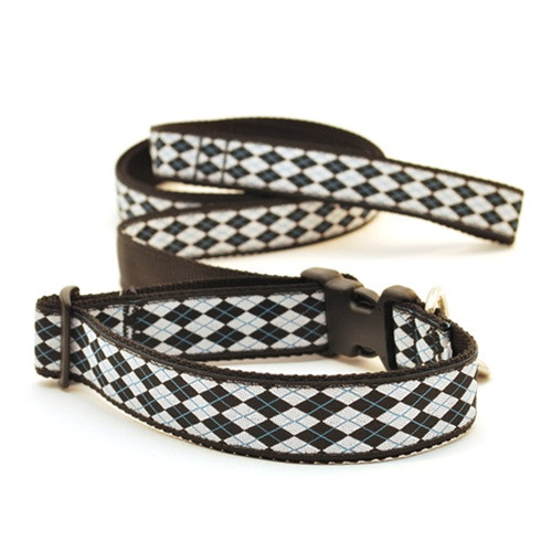 Argyle--White & Black (Narrow Collar)