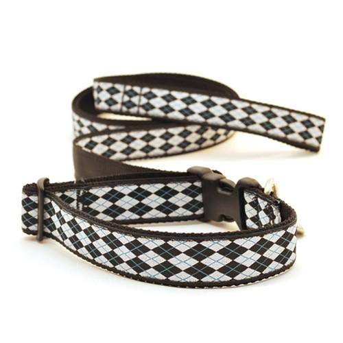 Argyle--White & Black (Wide Leash)