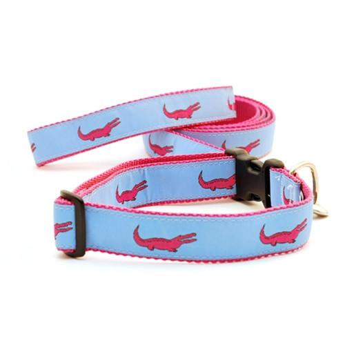 Alligator--Pink on Light Blue (Narrow Roman Harness)