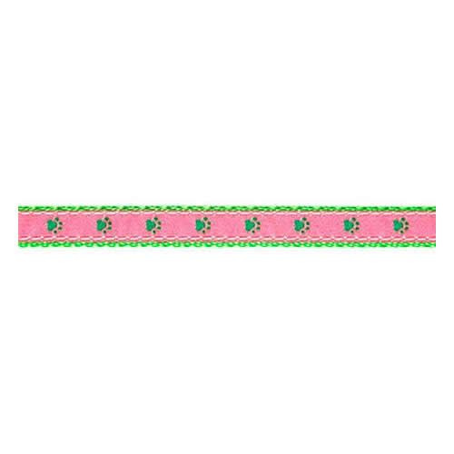 Paws--Green on Pink II (Toy Leash)