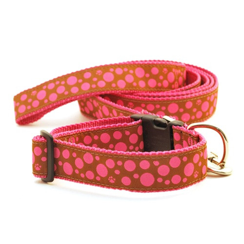 Polka Paws--Pink on Brown (Wide Collar)