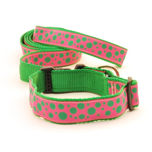Polka Paws--Green on Pink (Toy Collar)